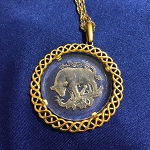 Jewelry - Vintage Crown Trifari Taurus Bull Necklace/pendant